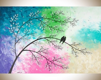Colourful painting love birds art turquoise green puple pink wall art wall decor Impasto acrylic art by qiqigallery
