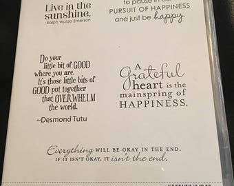 Pursuit of Happiness stamp set by Stampin' Up! Quote stamps