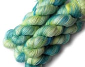 Hand Dyed Yarn Cashmere Silk Lace Yarn, 433 yards, Spring Dapple