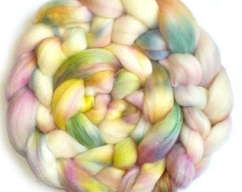 Merino, Baby Alpaca and Silk Handdyed Roving Combed Top - Pretty in Pastels, 5.1 oz.