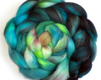 Superfine Merino Cashmere Silk Roving Custom Blend, Water Sprite
