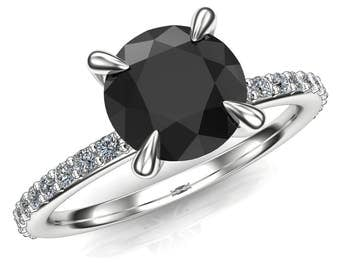 Black Diamond Engagement Ring | Claw Prong | Genuine Round 1ct Black Diamond, Solid 14k Rose, White, or Yellow Gold Band