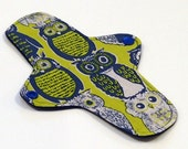 "8"" Ultrathin Pantyliner - Reusable Cloth winged liner - Quilter's Cotton top - Retro Owls"