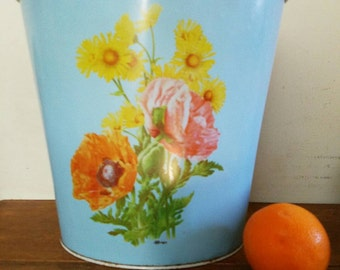 70s Metal Wastebasket, Blue with Poppies