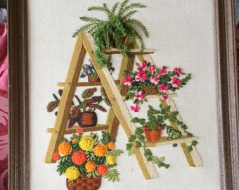 VINTAGE EMBROIDERED PICTURE, crewel work, hand stitched, plants, fern, flowers,
