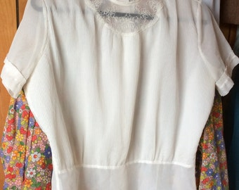 VINTAGE SHEER BLOUSE, pleats, embroidery, delicate, mid century fashion,