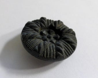 Vintage Czech Opaque Matte Jet Black 27mm Round Glass Button with Tufted Pattern (1)