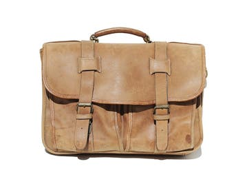 Vintage Thick Heavy Tan Leather Distressed attach Briefcase Bag