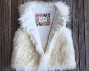 Faux Fur Girls Vest- White & Gold, Girl, Metallic, Holiday, Fashion, Boutique, Runway, Glam, Chic, Baby, Fur, Faux Fur, Satin