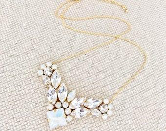 White Opal Rhinestone necklace, Rhinestone Bridal Necklace, wedding Necklace, jeweled bridesmaid necklace, gold rhinestone necklace