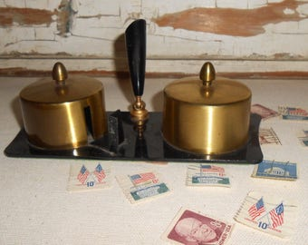 Vintage Brass Postage Stamp Roll Holder, Desk Top Stamp Holder, Vintage Office