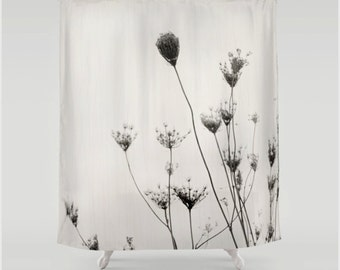 Black and White Queen Anne's Lace Fabric Shower Curtain, Minimalist Nature Themed Home Decor
