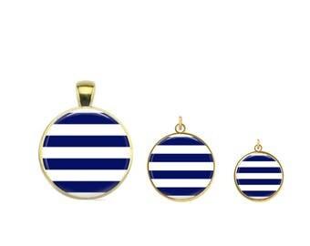 Navy Stripes Charm, Navy and White Stripes, Summer Stripes, Preppy Charm, Preppy Necklace, Preppy Bracelet