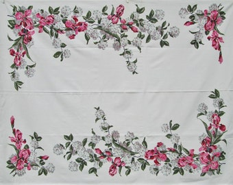 Amazing Vintage Tablecloth Pink Green Bearded Iris Printed Table Cloth Cottage  Decor Mid Century Kitchen Dining Linens