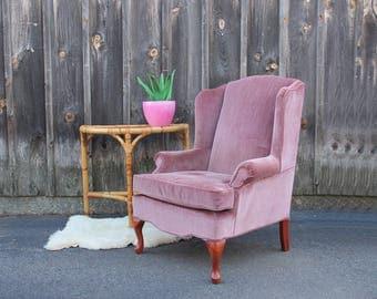 Lavender Pink Velvet Wingback Armchair