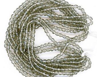 Vintage Gray Beads 4mm Translucent Fire Polish Glass 1 Gross 144 Pcs.