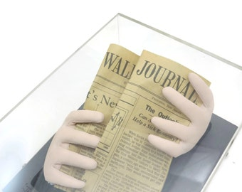 Framed Sculpture - Business Man, Wall Street Journal Newspaper, Sculptured Hands, 1980s, Artist Signed