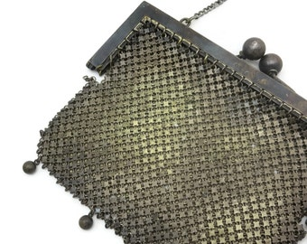 Antique Purse - Victorian Chainmail Mesh Handbag, 1905 AS IS