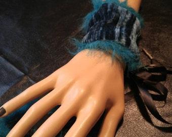 Pair Blue Velvet Furry Tie Up Cuffs