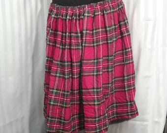 Full Cotton Red Tartan Plaid Skirt