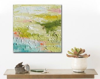 Small Abstract Painting, landscape green filed, blue green art small square little painting canvas original gift idea
