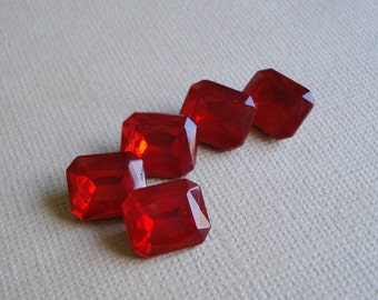 6 Vintage 12x10mm Light Siam Ruby Red Gold Foiled Glass Octagon Rhinestone Jewels