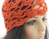 Crocheted Flower Mesh Hat. Adult. Beanie. Wool. Rust. Paprika. Orange. Red.