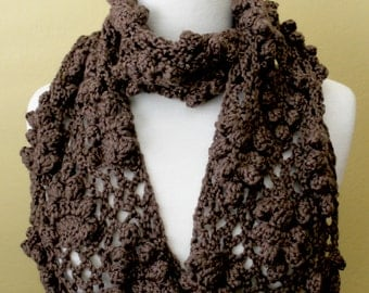 Crocheted Brown Lacy Scarf. Grape. Scarflette.
