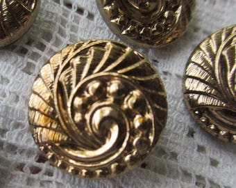 6 Vintage 1970s Czech Glass Buttons Handmade Gold And Black Glass Czechoslovakia  #11