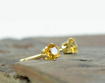 Gold citrine earrings, 9 carat gold citrine studs, 3mm, golden yellow gemstone earrings, November birthstone earrings, birthstone jewellery