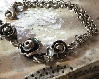 "Flower Bracelet 7"" Sterling Rolo Spring Chain"