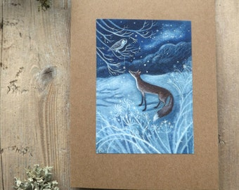 Winter fox. Fox/ Owl/ Frosty/Magical/Winter/Star/Greeting Card with Envelope by Karen Davis
