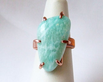 Amazonite Ring, mint green ring, natural stone ring, copper ring, freeform cabochon,  prong set, ring size 6