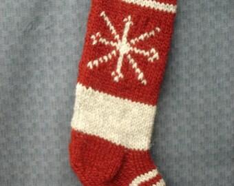Christmas Snowflake Knitted  Stocking Custom Knit Stocking Personalized Stocking