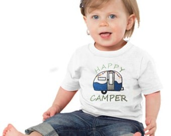 Machine embroidered Happy Camper T-Shirt, camper,vintage camper,t-shirt,customized,