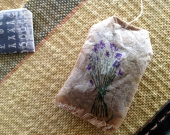 Tea Bag ALTERED ART - Filled with French Lavender Buds   Hand Stamped With  Lavender Flowers  - Hand Painted Buds  Ladies Tea - Garden Party