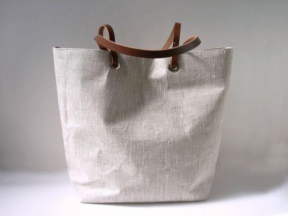 Simple Linen Tote Bag Natural Beach Bag