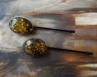 Vintage Sterling Silver and Dark Yellow Baltic Amber Hairpin (Hair Pin, Bobby pins) Set