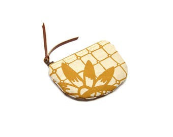 coin purse • small zipper pouch • mustard yellow geometric floral print - screenprinted - zipper pouch • coin pouch