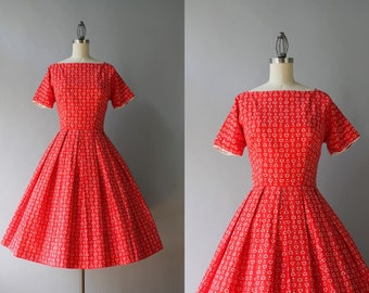 Vintage 50s Dress / 1950s Lanz Cotton Dress / 50s Heart Print Pleated Day Dress XS S extra small