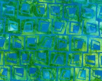 Batik Squares Cabana Blue Green Kaufman Fabric 1 yard