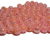 8mm Smooth Round Acrylic Beads in  Iridescent Peach 100pcs