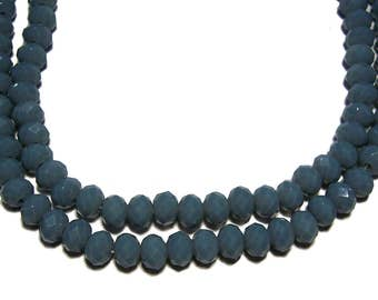 4x6mm Chinese faceted glass crystal beads in Slate Blue 70pcs