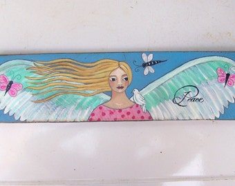 Angel Painting Original Folk Art on Salvaged wood Inspirational