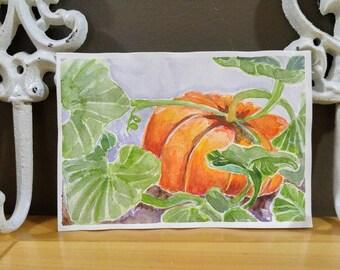 Rouge Vif Pumpkin original watercolor painting