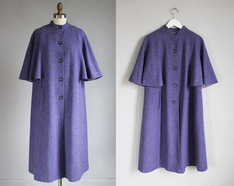 1960s lavender tweed wool winter cape coat Avoca Irish wool / s - m