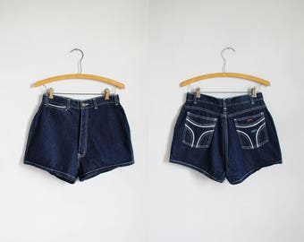 1980s high waisted dark blue denim shorts - Mizz Lizz - xs / s - x-small - small