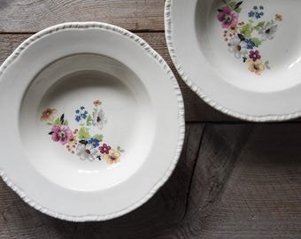 Vintage Bowls, Homer Laughlin, Floral Patterned Bowls, Vintage Soup Bowls, Soup Bowls, Vintage China, Table Wares, Cottage Decor