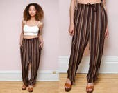 90s Vintage High Waist Striped Pants // GRUNGE Stripe Trousers  - Size M L