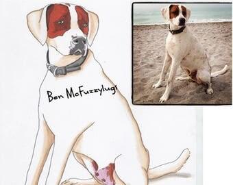 Staffie Digital Dog Impression, Custom dog depiction, Personalized Dog Art, Dog Sketch, Crossbreed art